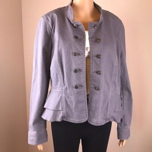 LOFT Ann Taylor Gray Denim Buttonfront Jackt SZ 14